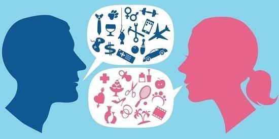 1 tête d'homme en bleu et une tête de femme en rose et une bulle part de la bouche de chacun. Les bulles contiennent des picto bleus et roses