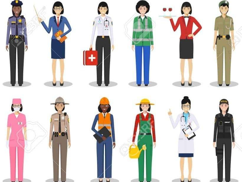 Image montrant des femmes avec les tenues associées habituellement aux métiers.