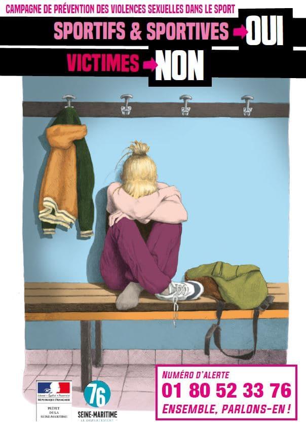 Image de vestiaire avec une fille qui a la tête cachée dans ses bras. L'affiche indique sportifs et sportives : OUI, victime non
